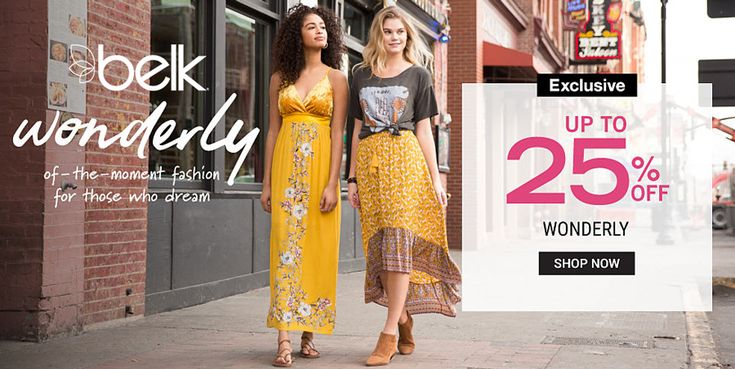 In-Store & Online! Up to 25% #Off Wonderly.  Store: #Belk Scope: Entire Store Ends On : 03/24/2018  Get more deals: http://www.geoqpons.com/Belk-coupon-codes  Get our Android mobile App: https://play.google.com/store/apps/details?id=com.mm.views  Get our iOS mobile App: https://itunes.apple.com/us/app/geoqpons-local-coupons-discounts/id397729759?mt=8