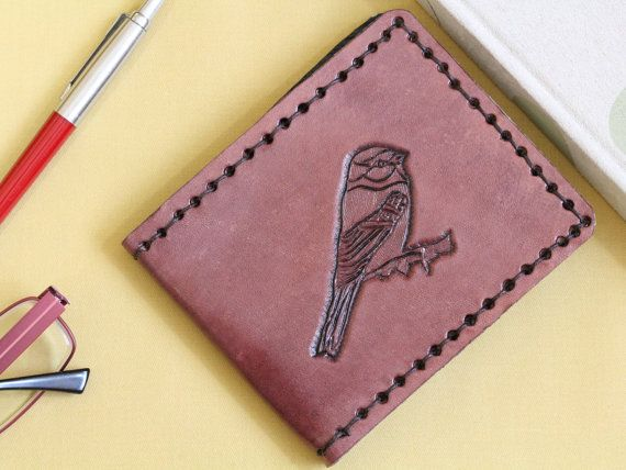Hand Carved Leather Wallet  Bird Credit Card by TinasLeatherCrafts. Repin To Remember.