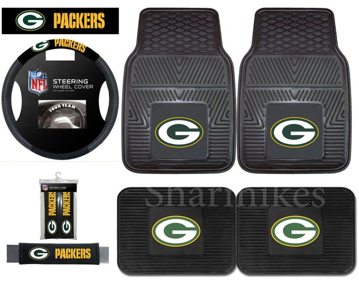 green bay packers car truck floor mats steering wheel cover seat belt pads in sports mem. Black Bedroom Furniture Sets. Home Design Ideas