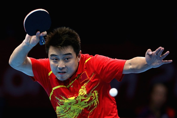 Wang Hao of China competes during his Men's Singles Table Tennis Quarter Final match against Seiya Kishikawa of Japan on Day 5 of the London 2012 Olympic Games at ExCeL on August 1, 2012 in London, England.