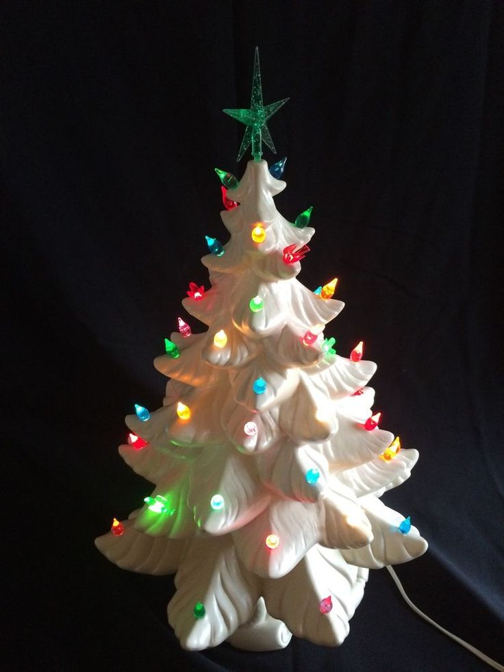 Vintage Tall White Ceramic Lighted 2 Piece Christmas Tree 19"