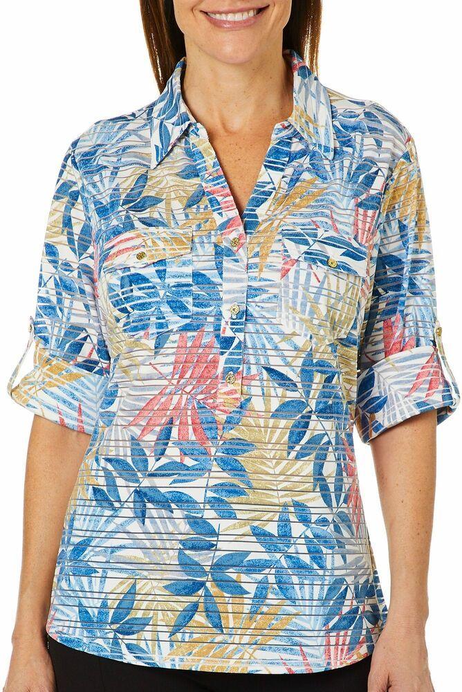 03b7b84e10b7d5 Cathy Daniels Womens Tropical Leaf Sheer Stripe Top #fashion #clothing  #shoes #accessories