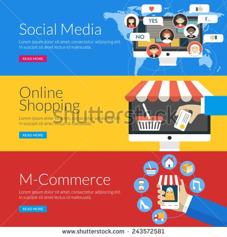 Flat design concept for social media, online shopping and m-commerce. Vector illustration for web banners and promotional materials
