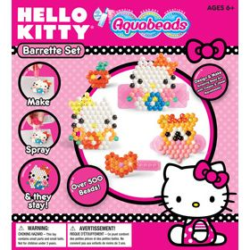 Make your own barrette designs with Hello Kitty Aquabeads! Wear them in your hair or give them as gifts. Make a different Hello Kitty Barrette to wear each day of the week. Barrette designs easily detach from barrette base, so you can change your design whenever you want. Comes with over 500 classic and jewel beads. Set also includes a convenient spray bottle, 3 barrette bases, bead case, layout tray, 4 Hello Kitty design templates, bead pen and instructions.