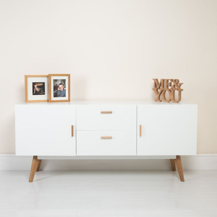 New White Scandinavian Retro Furniture TV Unit Cabinet Sideboard Solid Oak Legs in Home, Furniture & DIY, Furniture, Cabinets & Cupboards | eBay