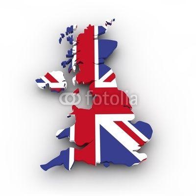 Landkarte von England, Großbritannien mit Flagge