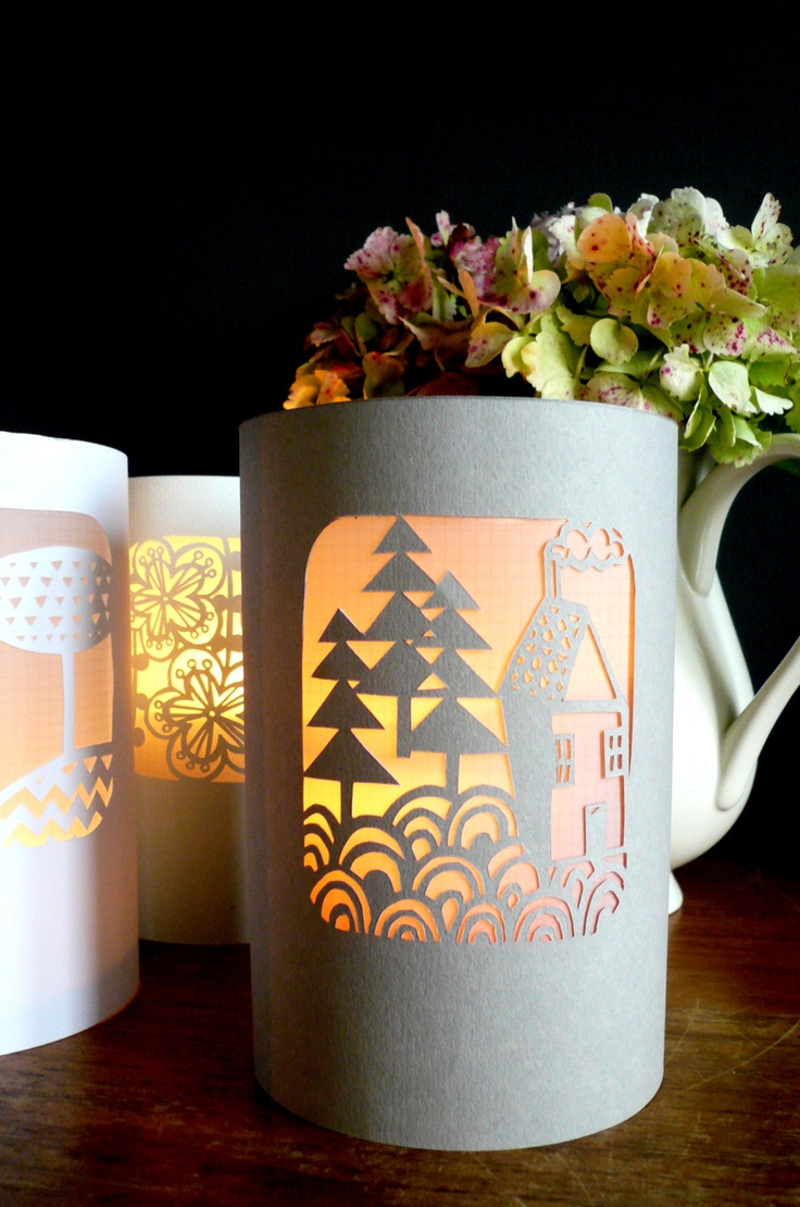 Paper-cut Lantern/Luminary - Little House. $23.00, via Etsy.