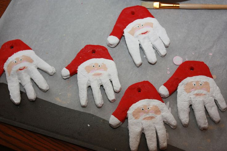Santa Hand Ornament - from flour,salt & water dough