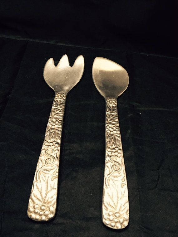 Vintage Salad Servers Serving Utensils Large Fork And Spoon