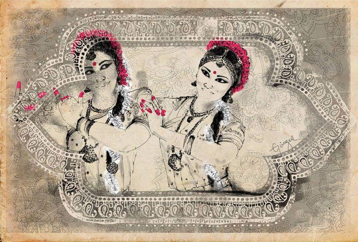 Indian classical dancers by Güngur Arts. Illustration: Patricia Salgado