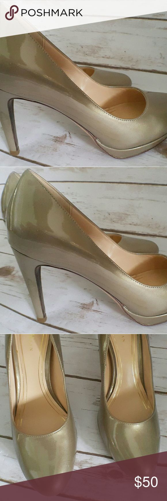 "Cole Haan Gold Metallic Patent Leather Pumps Nike Air 3 inch closed toe leather heels with small platform. No scuffs or scrapes. Length -8"" Width- 2.5"" (7B) (not  a gold metallic chrome) Cole Haan Shoes Heels"