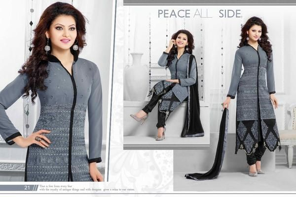 LadyIndia.com # Dress Material, Laxmipathi Fancy & Exclusive Gray And Black Party Wear Salwar Suit, Salwar Suit, Dress Material, https://ladyindia.com/collections/ethnic-wear/products/laxmipathi-fancy-exclusive-gray-and-black-party-wear-salwar-suit