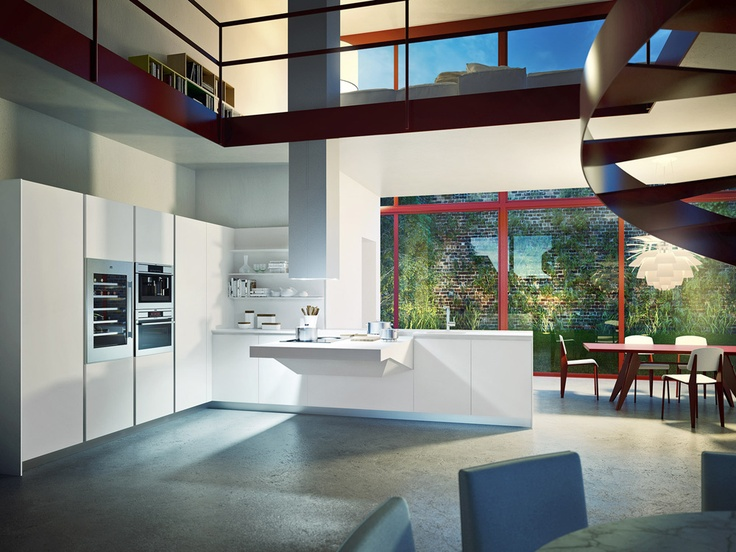 #Cucina #kitchen Board Featuring Arctic White Matte Lacquered Doors And  Functional Block From 120