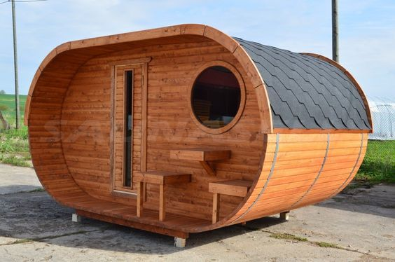 2,4 m kaheruumiline ovaalsaun + terrass: kuni 4 inimest | Saunasell