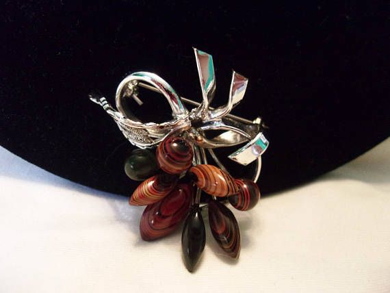 Brooches Store Amber, Turquoise and Sterling Silver Leaf Brooch