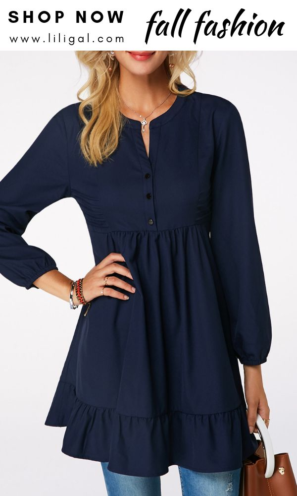 4f8a5b98733 Pleated Detail Button Front Frill Hem Blouse