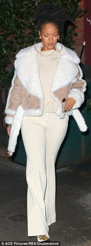 Fur goodness sake!Wrapped up in a luxurious fur suede coat, the Diamonds hit-maker didn't let the dropping temperatures keep her from looking her absolute best