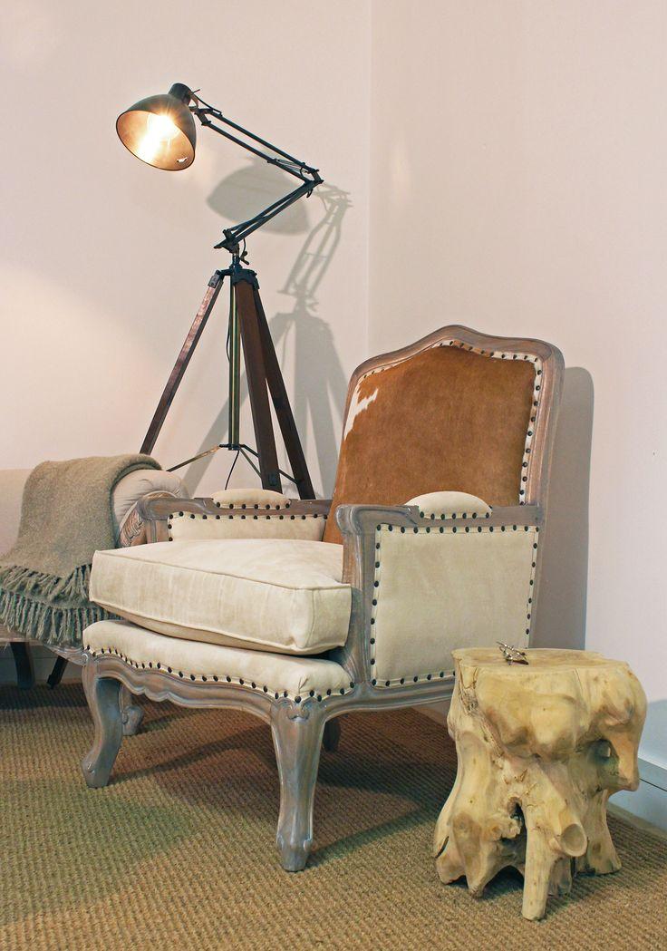 Stunning shoot of Cowhide Italian Armchair!  #frenchprovincial #armchair #cowhide #italian #stool #stump #treeroot #furnituredesign #furniture #zafferolighting #hudsonfurniture #coffetable #sidetable