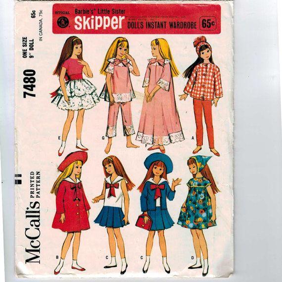 1960s Vintage Sewing Pattern McCalls 7480 9 Inch Skipper