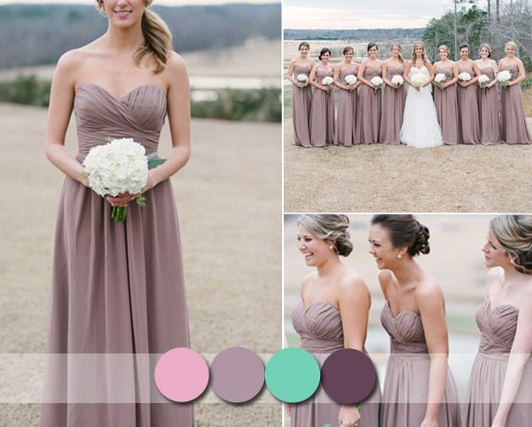 Mauve Fall Sweetheart Bridesmaid Dresses 2014