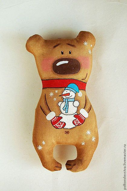 Ароматизированные куклы ручной работы. Ярмарка Мастеров - ручная работа Мишка со снеговичком. Handmade.