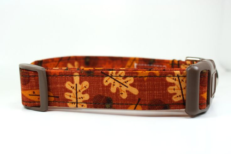 Fall Dog Collar - Autumn Acorns and Leaves / Adjustable Dog Collar / Made to Order in 5 Sizes / Unique Dog Collar - pinned by pin4etsy.com