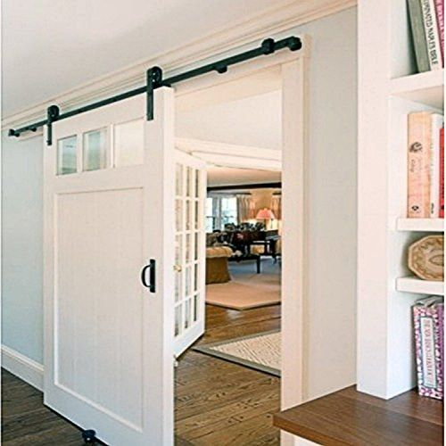 5FT Single Classic Design Sliding Barn Door Hardware Black Rustic Closet Interior Quiet Glide Track Rail Rolling Kit Set Industrial Strength, Easy to Follow Installation Manual Included