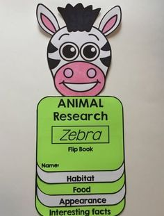 FREEBIE: Flip Book: Zebra research flip book - This flip book is hands-on, easy to assemble and fun! It includes : Flip book with categories - Habitat - Food - Appearance - Interesting facts and a cover page