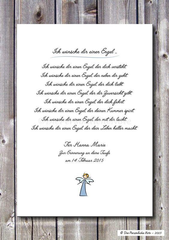 Poetischer Segenswunsch: Ich wünsche dir einen Engel ... - ein Designerstück von DiePersoenlicheNote bei DaWanda: