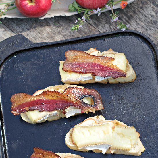 Open faced grilled bacon apple brie sandwich that will knock your ...