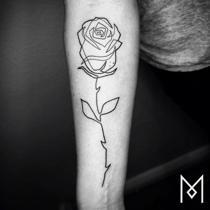 20 Minimalistic Single Line Tattoos by Mo Ganji