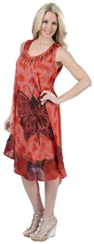 La Leela Rayon Plus Size Dress Women Cover Up Hand Tie Dye Tank Butterfly Red. Do YOU want Dress in other colors Like Red | Pink | Orange | Violet | Purple | Yellow | Green | Turquoise | Blue | Teal | Black | Grey | White | Maroon | Brown | Mustard | Navy ,Please click on BRAND NAME LA LEELA above TITLE OR Search for ?LA LEELA? in Search Bar of Amazon. US Size : From Regular 14 (L) TO Plus Size 24W (3X) ➤ UK SIZE : FROM REGULAR 14 (M) TO 28 (XXXL) ➤ BUST : 52 Inches [ 132 cms ]➤ Length…