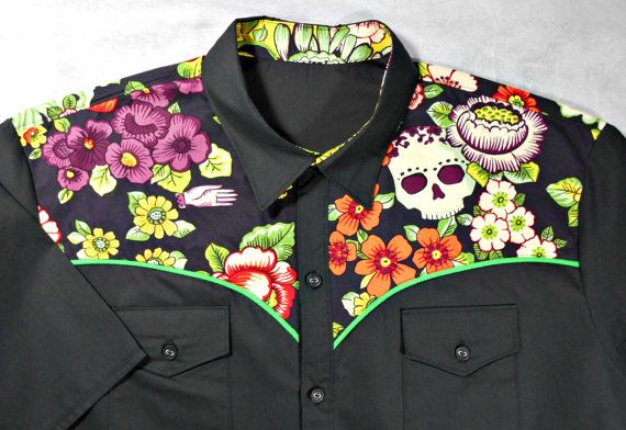 Made to order, Men's unique western style short or long sleeve shirt. Made of beautiful cotton for the yoke of the shirt and poly/cotton broadcloth for the body of the shirt.