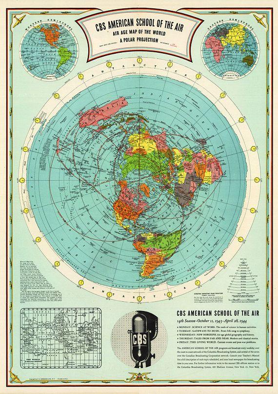 Flat Earth Map   Cbs American School Of The Air Hammond Map Print