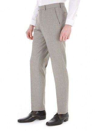 LIGHT GREY SHARKSKIN TAILORED FIT SUIT TROUSERS