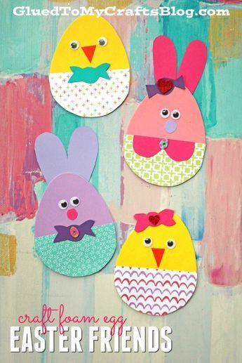 Craft Foam Egg Shapes Turned Adorable Easter Friends - Kid Craft #kidcrafts #gluedtomycrafts #easter