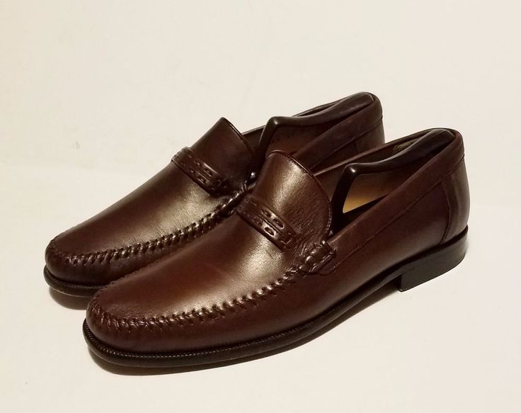 Sandro Moscoloni Mens Shoes Brown Leather Loafers Size 9 Made In Spain #SandroMoscoloni #LoafersSlipOns