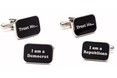 """The perfect cufflinks for the party faithful. Pair includes one cufflink that says """"Trust Me"""" and the other, """"I am a Republican"""" or """"I am a Democrat"""". $49.95"""