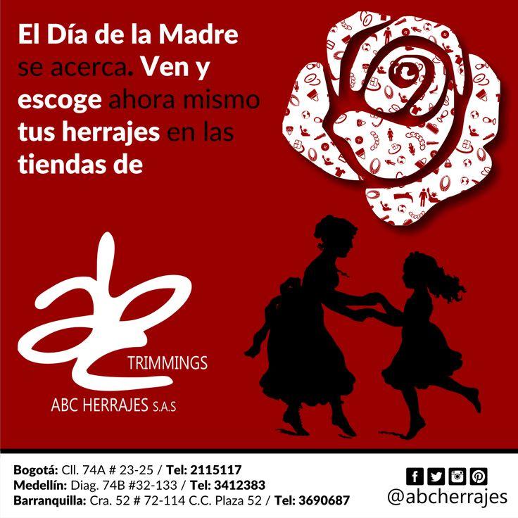 El #DíaDeLaMadre se acerca. Ven y escoge ahora mismo tus #Herrajes en las tiendas de #ABCHerrajes #Moda #Estilo #Diseño Nos puedes encontrar en: #Bogota: Calle 74A # 23-25 / Tel: 2115117 #Medellin: Diagonal 74B # 32-133 / Tel: 3412383 #Barranquilla: Carrera 52 # 72-114 C.C. Plaza 52 / Tel: 3690687 Visítanos en: www.abcherrajes.com