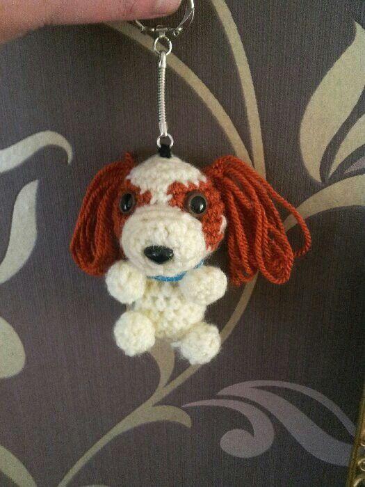 Ami ami amigurami Crochet dog spaniel keyring