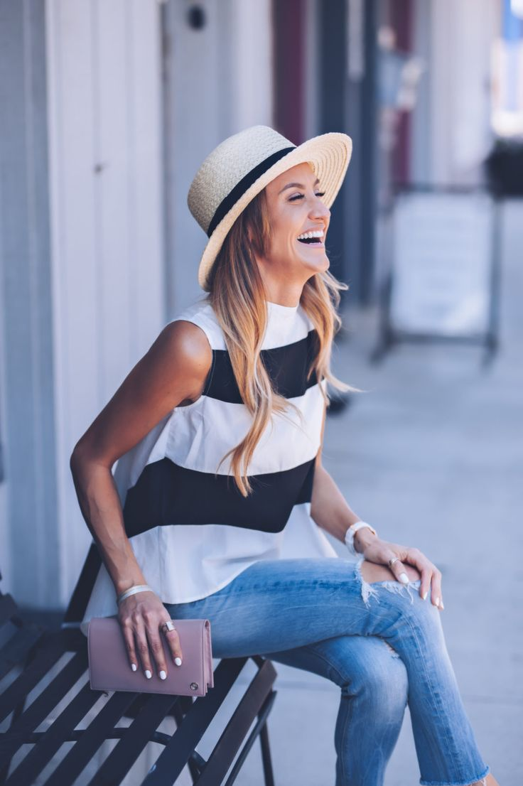 Black and White top and boater hat