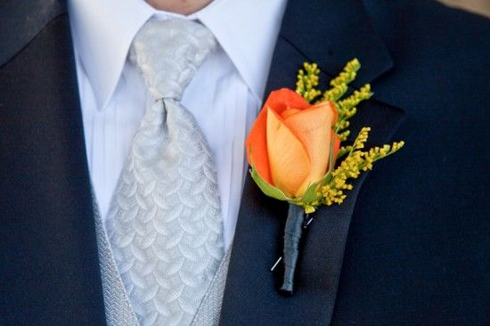 Orange Boutonniere - less bright but this is a nice style