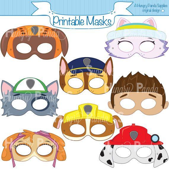 Patas para imprimir carácter máscaras del partido, máscaras para imprimir, máscaras de perro, dibujos animados máscaras, máscaras del héroe, perros, dálmata máscara, máscara de perrito, los niños la máscara