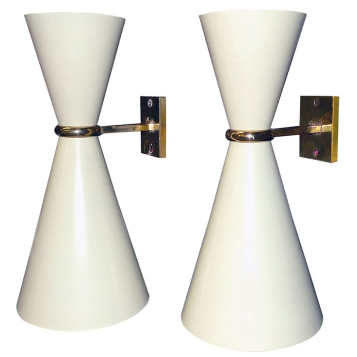 1stdibs | Pair of 1950's Italian Double Cone Sconces