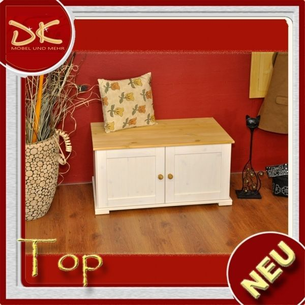 Sitzbank Truhe Kiefer Massivholz Weiß Honig 361551, Möbel, Kommoden | EBay  80cm X 45cm