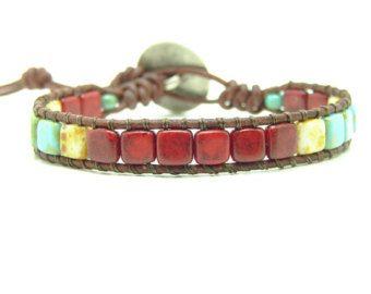Half Tila  Beaded Leather Wrap Bracelet Western Style Beaded