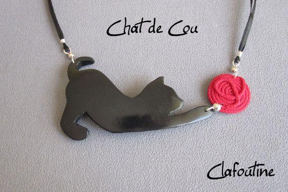 Кольер оригинальный и весело Black Cat: Черная кошка и красный шар * макс * Версия полимерная глина
