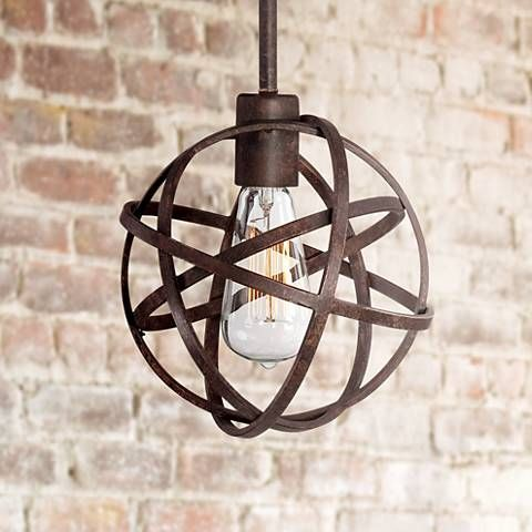 Handsomely designed, this industrial bronze mini pendant light is chicly covered in an atom, orb-shaped cage.