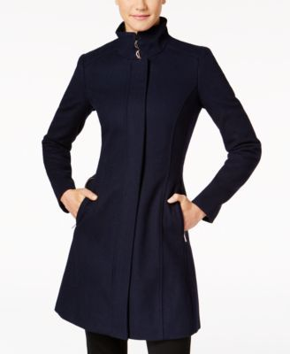 Calvin Klein Buckled Stand-Collar Walker Coat | macys.com