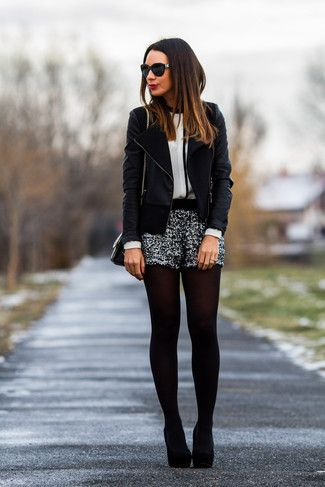 Women's Black Leather Biker Jacket, White and Black Long Sleeve Blouse, Silver Sequin Shorts, Black Suede Pumps